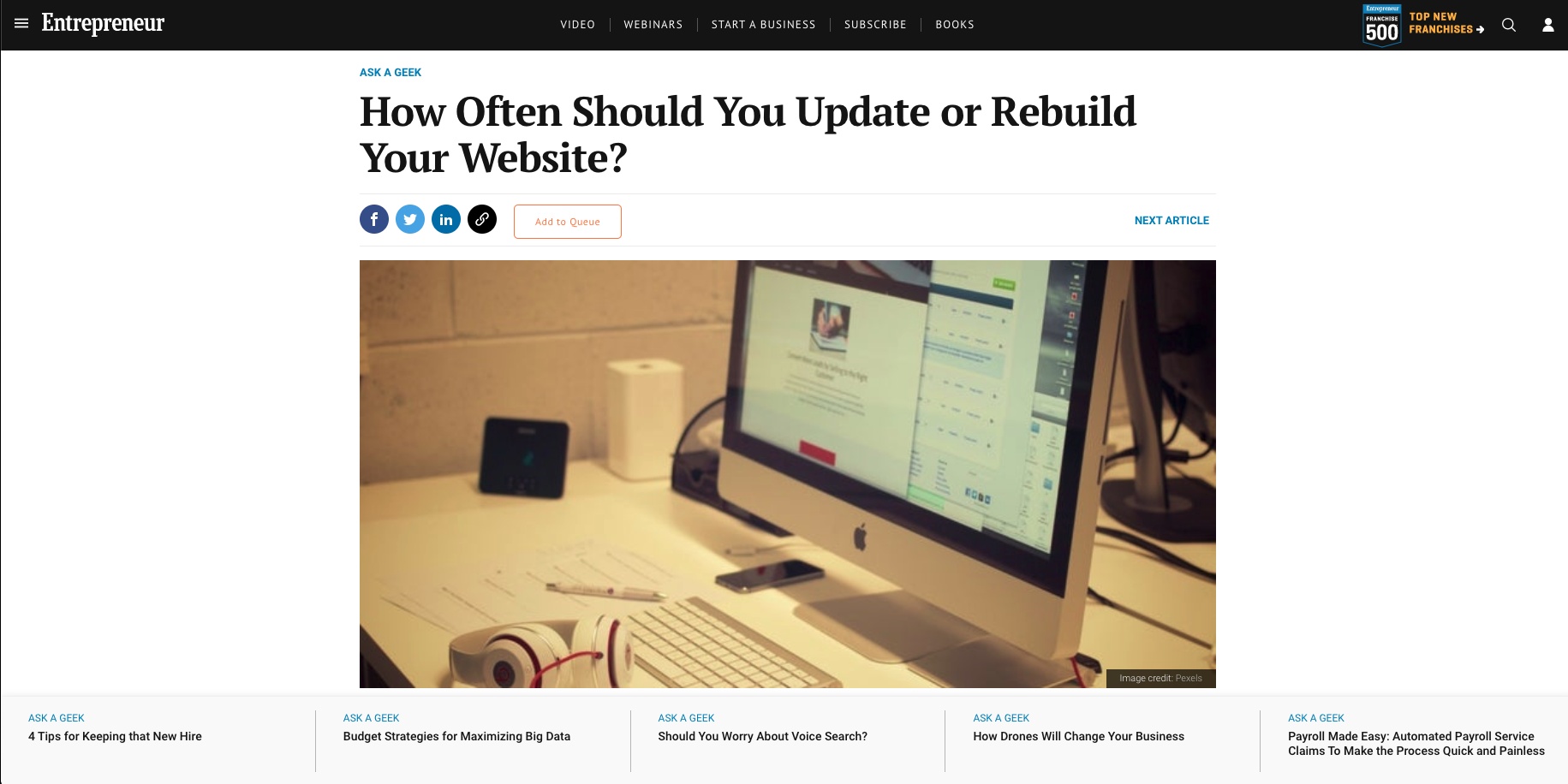 How Often Should You Update or Rebuild Your Website? - By Enterepreneur.com