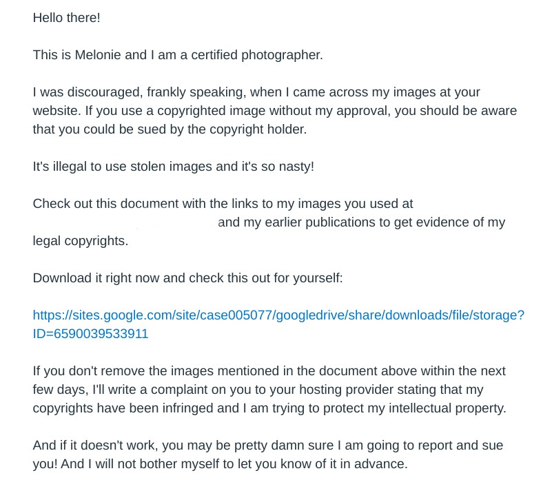 Illegal Images Scam