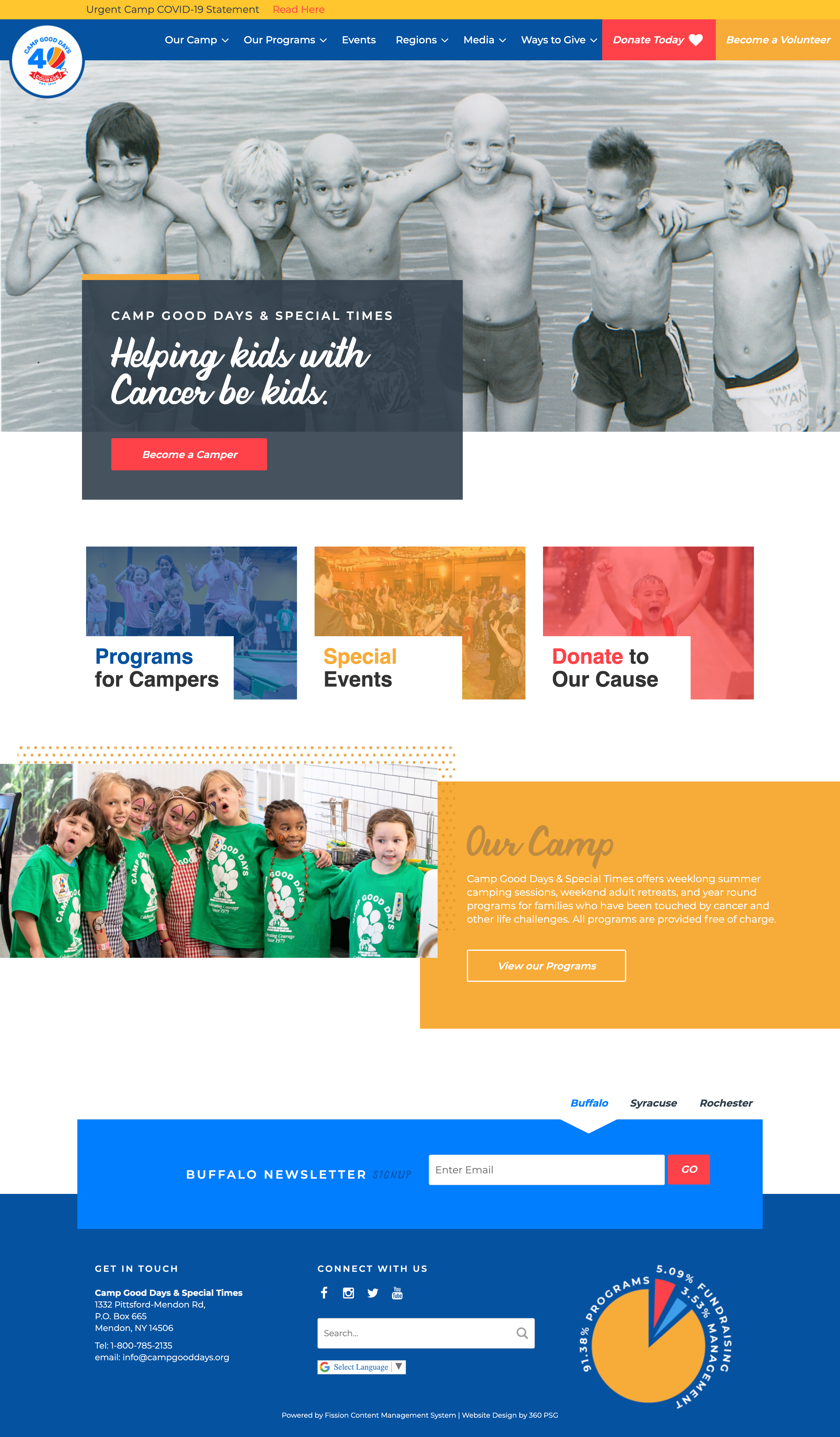 Camp Good Days Website - Desktop