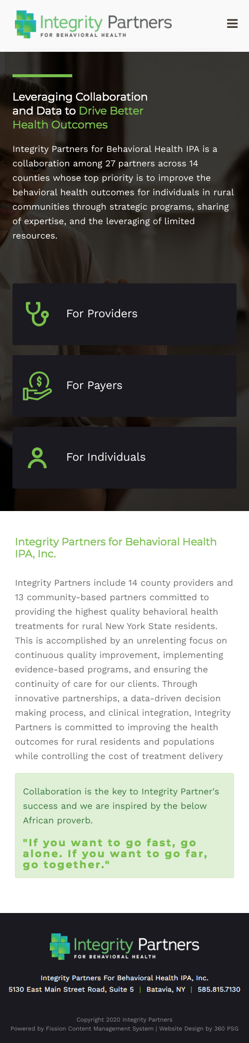 Integrity Website - Mobile