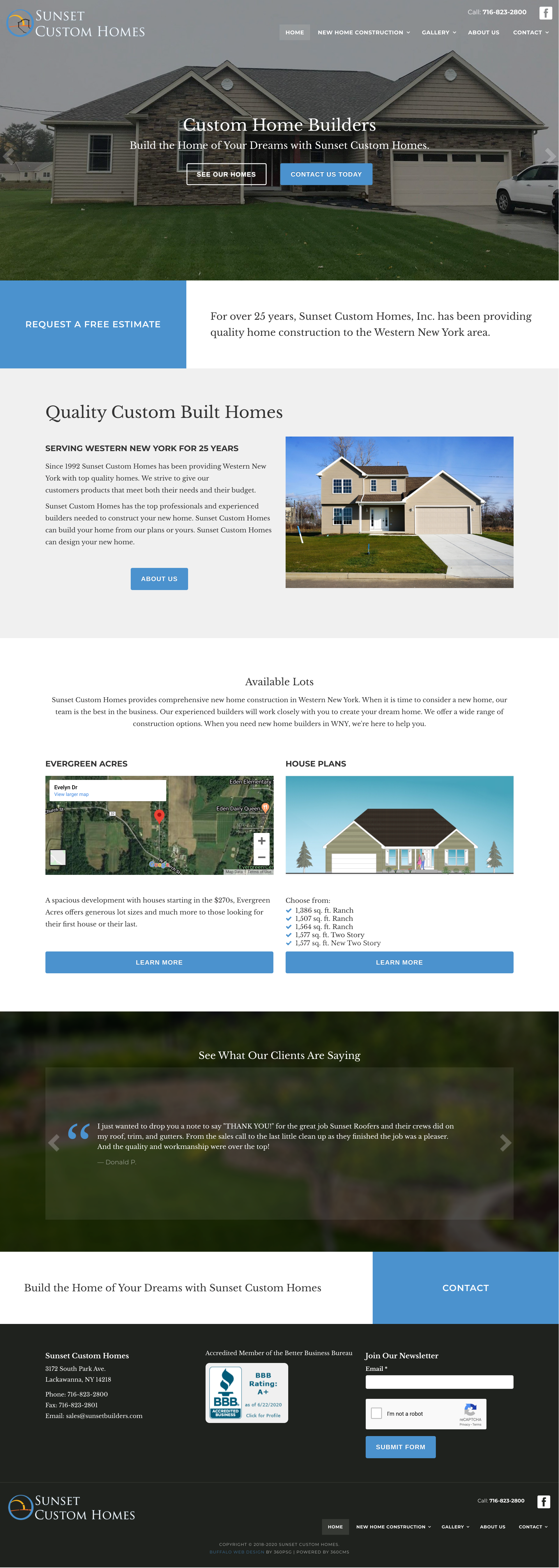 Sunset Custom Homes Website - Desktop