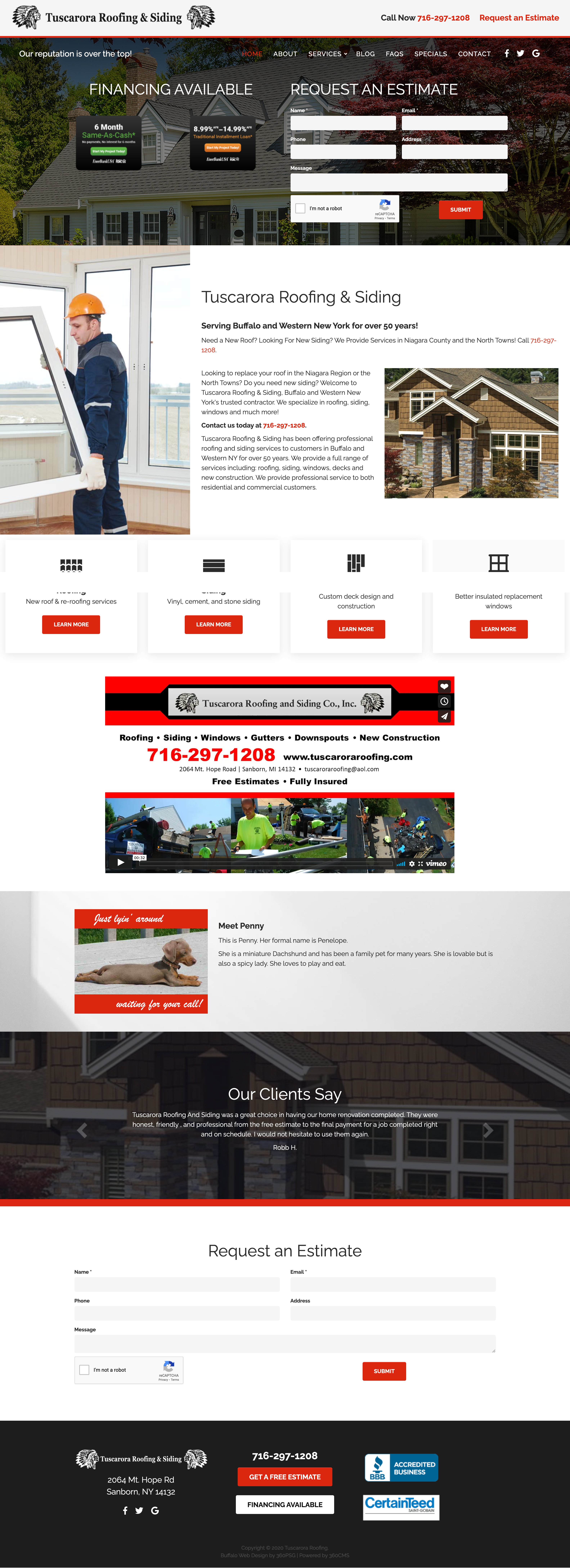 Tuscarora Roofing Website - Desktop