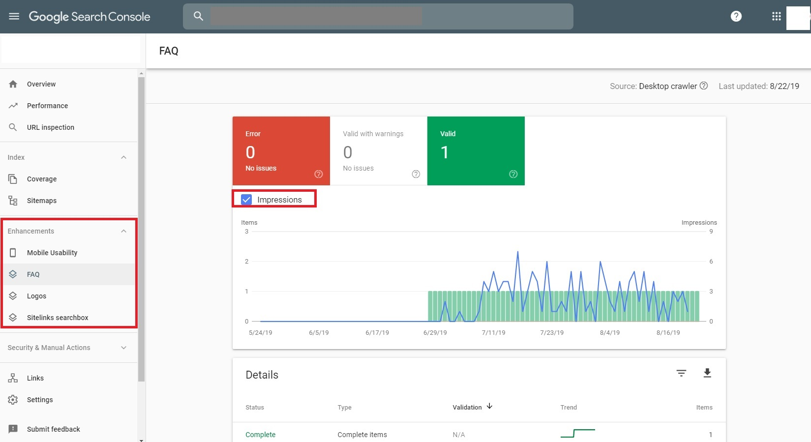 Google Search Console Enhancements Tab