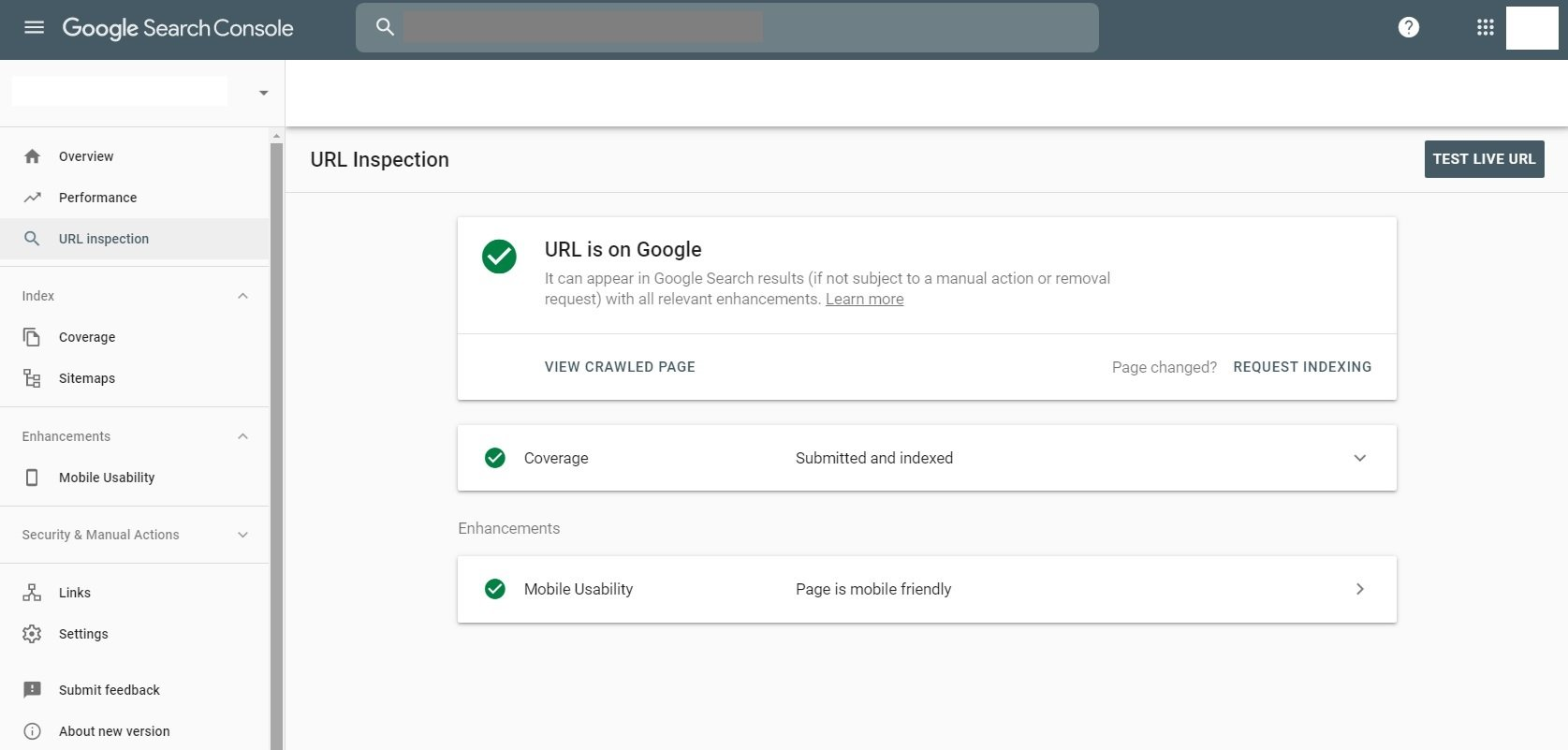 URL Is On Google Confirmation Google Search Console