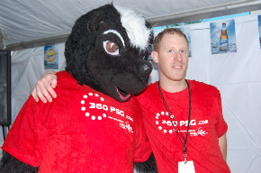 Matt Whelan 360 PSG Managing Partner, Operations with `Stinky` the 360 PSG Skunk